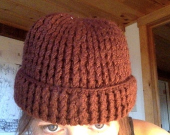 Vintage brown knit/crochet thick beanie