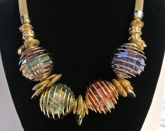 Vintage Iridescent Lucite Caged Ovals Necklace