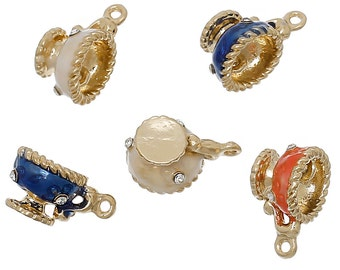 2 Teacup Enamel Charms Gold Tone with Inset Rhinestones Assorted 3D - E34