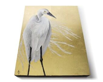 Egret on Gold leaf - realistic white shore bird - metallic glam painting - bold modern home decor art - gold and white crane - asian decor