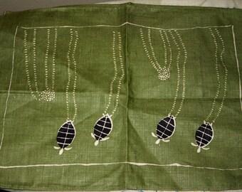Vintage Placemats - Pure Linen -Turtle - Emu