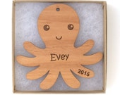 Octopus Christmas Ornament, Aquatic/Ocean Animal Ornament, Personalized Wood Animal Ornament, Custom Engraved Ornament, Wood Gift Tag