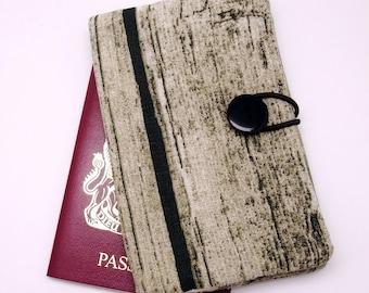 Passport sleeve, passport cover, fabric passport case, pouch - Wood pattern (Ps2)