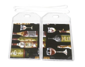 Luggage Tags Set of 2 Wine Bottles