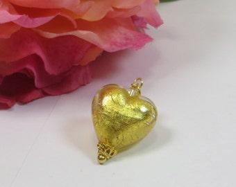 Venetian Murano Glass Heart Pendant, Gold Heart Pendant with 24kt Gold and Swarovski Crystal, Genuine Murano Venetian Glass Heart Pendant