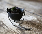 Vintage Small Black Cast Iron Hanging Footed Planter