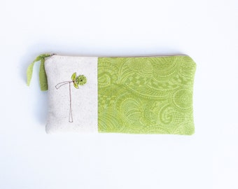 Green Monogram Clutch, Gifts for Women, Gifts for Her, Zipper Pouch, Zipper Bag, Zipper Clutch, Letter T, Gifts under 50 READY TO SHIP