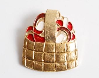 Vintage big metal  pin, Mushroom.  Badge from USSR.