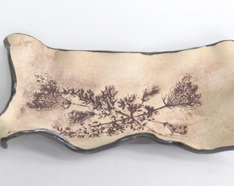 Wildflower Imprint Ceramic Trinket Tray Queen Anne's Lace Art Dish Rustic Clay Home Accent Organic Pottery Decorative Dish