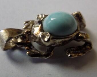 Vintage pendant, sterling silver and lorimar stone frog pendant, sealife figural pendant