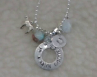 I'm a barn goddess stamped necklace with charms