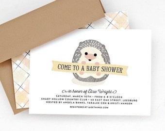 Woodland Baby Shower Invitation, Hedgehog Baby Shower Invite, Gender Neutral // BABY HEDGEHOG