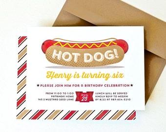 Hot Dog Party Invitation, Kid's Summer Party Invite // HOT DOG!
