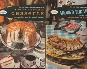 Good Housekeeping Cookbooks, Vintage Cookbooks, Paperback, Recipes,arty Pies, Hamburger and Hot Dog, Delectable Desserts, International