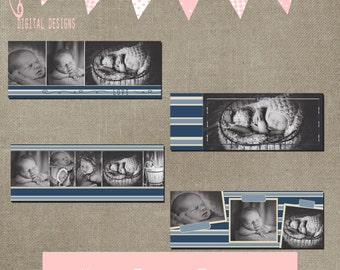 Facebook Timeline Blue Stripes Set of 4 Cover Collage Photographer Photography Template PSD - Photo INSTANT DOWNLOAD cs and Elements