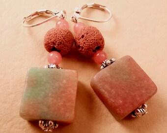 Jade Earrings Silver Earrings Gemstone Earrings  Jewelry Beaded Jewelry Silver Jewelry Beaded Earrings Coral Earrings Coral Jewelry