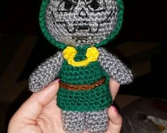 "crochet doll Dr Doom 6"" sci-fi geek retro fantastic 4 villain vegan amigurumi handmade comic marvel Victor Von Doom"