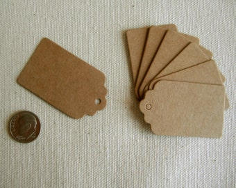 KRAFT TAGS  100 small  1 1/2 x 2 Tags with hole for string, Wedding, Shower, Place marker, Shop supply, place tags, Paper tags, Gift tags