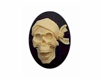 309x resin 25x18 Black Skull Skeleton with Bandana Cameo