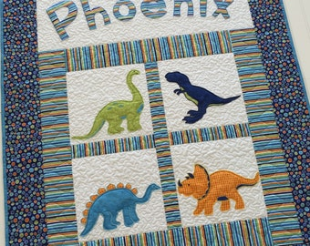 Personalized Baby Quilt with Dinosaurs and Appliqued Name