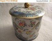 20% SALE Vintage Blue Flower Tin Box Knob Lid England Daher Gold 1960s
