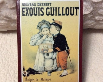 20% OFF SALE Vintage French Cookie Tin Container Exquis Guillout France Advertising