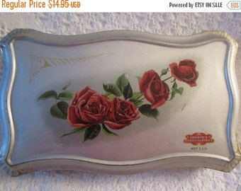 20% SALE Vintage Rare DROSTE BONBON Chocolate Tin Container made in Holland Red Rose Advertising