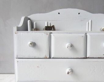 ON SALE Vintage Sewing Cabinet - Jewelry Storage - Wall Mount or Freestanding - White Distressed - Japan