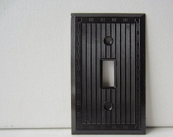 ON SALE Vintage Art Deco Brown Bakelite Single Light Switch Cover - Switch Plate - New Old Stock w/ Original Screws - Qty Available - Smooth