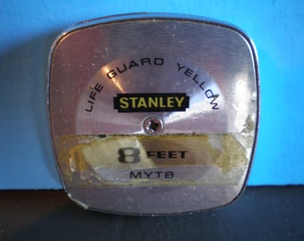 Vintage Mid Century Stanley Life Guard Yellow Measuring Tape