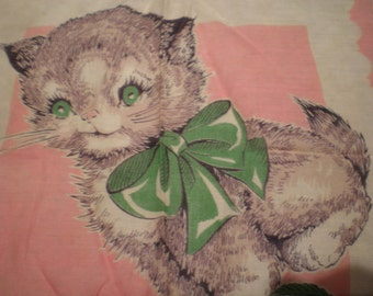 Vintage Mid Century Cotton Children's Handkerchief - Kitten