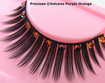 Casa dei Misteri - False Eyelashes with Genuine Magenta Orange Preciosa Crystal Diamante Rhinestones