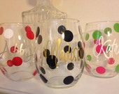 FUN Polka Dot Personalized Wine Glasses, Bridesmaid Wine Glass,Friends- Girls Night Out Party Wine Glasses