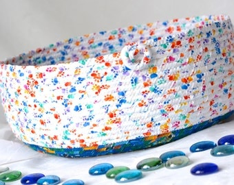 Handmade Cat Bed, Hand Coiled Pet Bed, Paw Print Fabric Basket, Modern Cat Bed, Dog Bed, Pet Paw Fabric Bowl