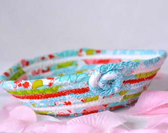 Handmade Ring Holder, Spring Red and Aqua Basket, Lovely Turquoise Key Bowl, OOAK Itty Bitty Basket, hand coiled fabric basket