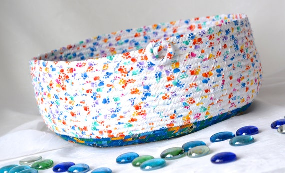 Cute Cat Bed, Hand Coiled Pet Bed, Paw Print Fabric Basket, Modern Cat Bed Furniture, Dog Bed, Pet Paw Fabric Bowl