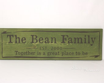Rustic Family Established Sign - TOGETHER RUSTIC WASH - Personalized Primitive Custom Made, unique paint, Together is a great place Est sign