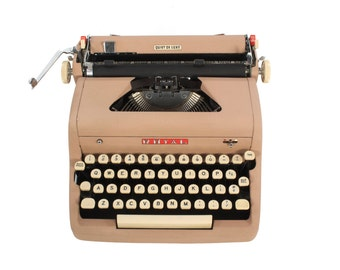 Exceptional Royal Typewriter - Quiet DeLuxe - Vintage 1950's - Tan - Pink - Working - Manual - Portable - FREE Domestic Shipping