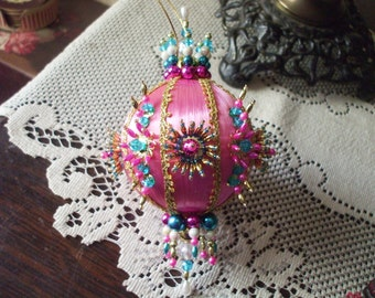 Handmade Christmas Ornament Satin Pink Ball Crystals Pearls Pink Gems Jewels Metallic Beads Gold Trim Ornate Victorian