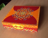 Red and Orange Handpainted Box Mandala Style Painting Whimsical Doodles and Dots Treasure Box Decorative Box Wish Box Home Decor