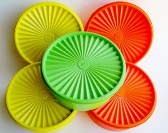 Tupperware Canisters  8 Inch 1204 Apple Green Orange Yellow Pick Any Good Condition