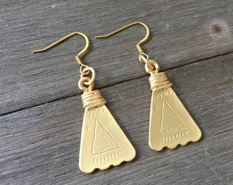 SALE // Matte Gold Earrings | Tribal Earrings | Geometric Earrings