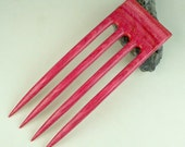 Reserved for Happycrafting  4 Prong Hair Fork made from Tropical Passionwood  DymondWood-  Very durable. Water resistant.