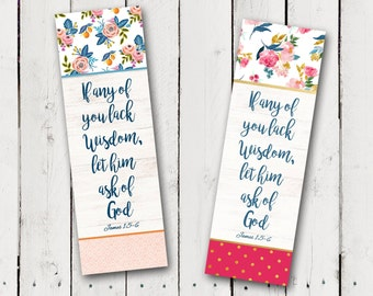 """Bookmark for the 2017 LDS mutual theme """"If any of you lack wisdom, let him ask of God"""""""