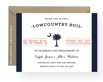 South Carolina Palmetto Moon Lowcountry Boil Invitation, Engagement, Rehearsal Dinner, Birthday, Anniversary Party by Palmetto Greetings
