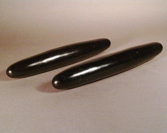 Large stone Massage Wand black marble with fossils 10 inches