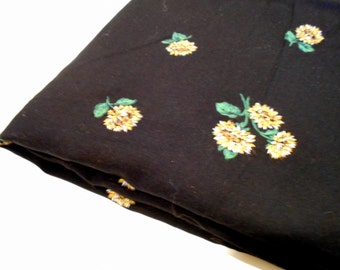 Black Fabric with Floral Design, Sewing Material, 1 Yd Mystery Fabric, Dressweight