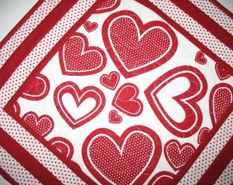 Valentine Table Topper  Hearts with Polka Dots, quilted, red and white