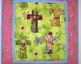 Cross Wall Hanging, Table Topper, crosses, quilted