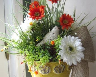 Spring  Summer Floral Arrangement, Kitchen Island Arrangement, Gift Arrangement, Yellow Pottery Planter, Bird, Orange, White Flowers